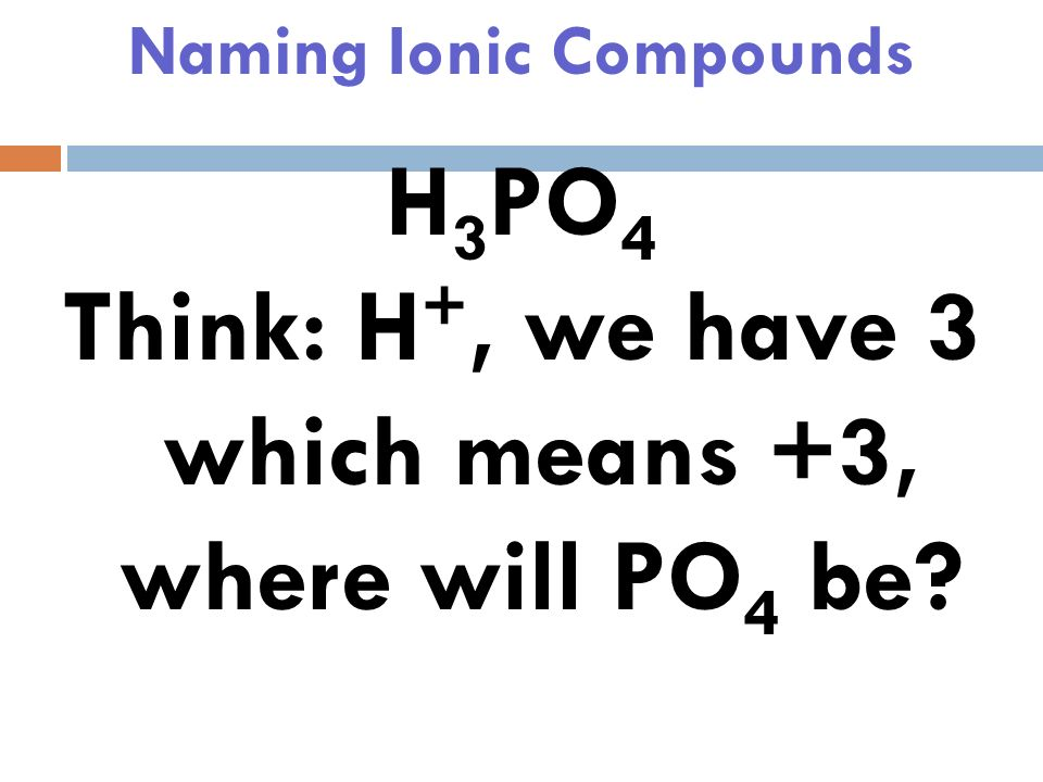 Naming Ionic Compounds H 3 PO 4 Hydrogen