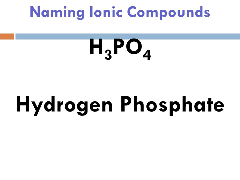 Naming Ionic Compounds H 3 PO 4 Think: H +, we have 3 which means +3, where will PO 4 be
