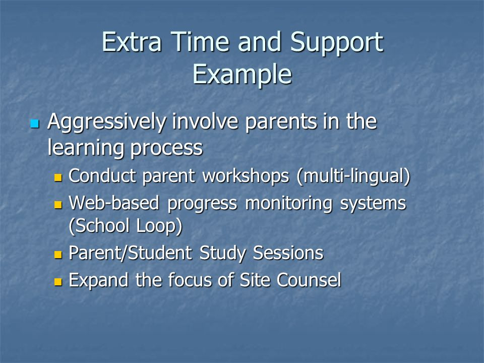 Extra Time and Support Example Aggressively involve parents in the learning process Aggressively involve parents in the learning process Conduct paren