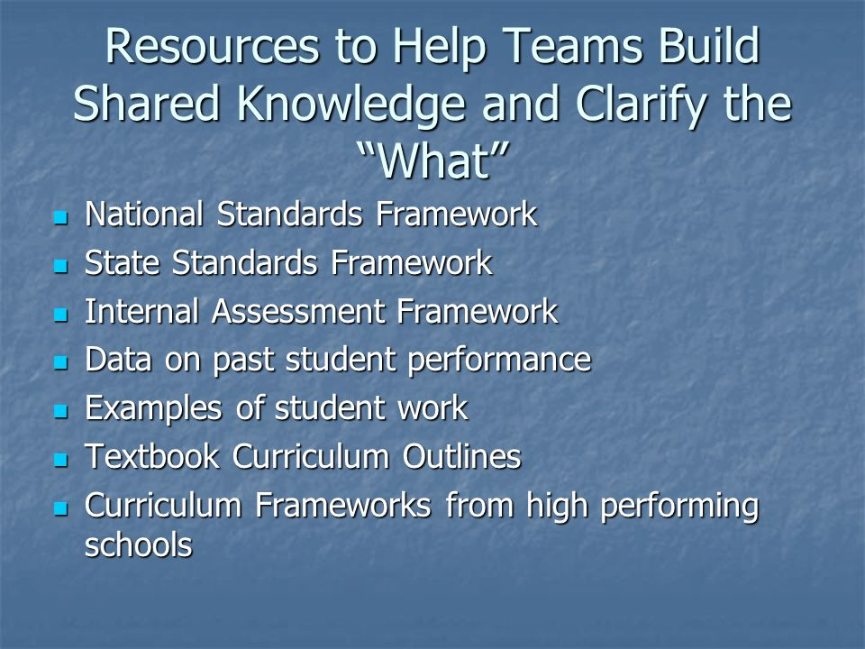 Resources to Help Teams Build Shared Knowledge and Clarify the What National Standards Framework National Standards Framework State Standards Framewor