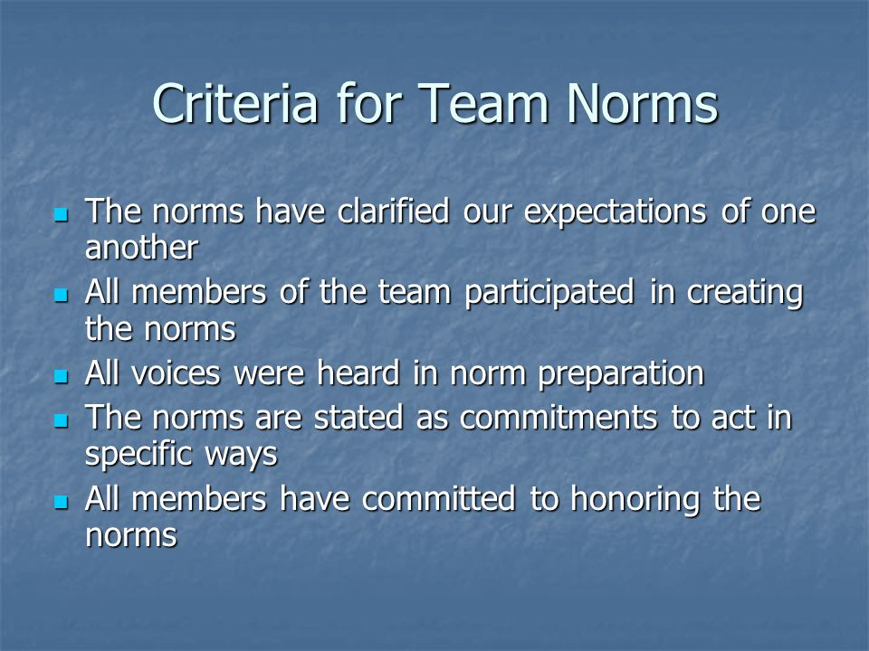 Criteria for Team Norms The norms have clarified our expectations of one another The norms have clarified our expectations of one another All members