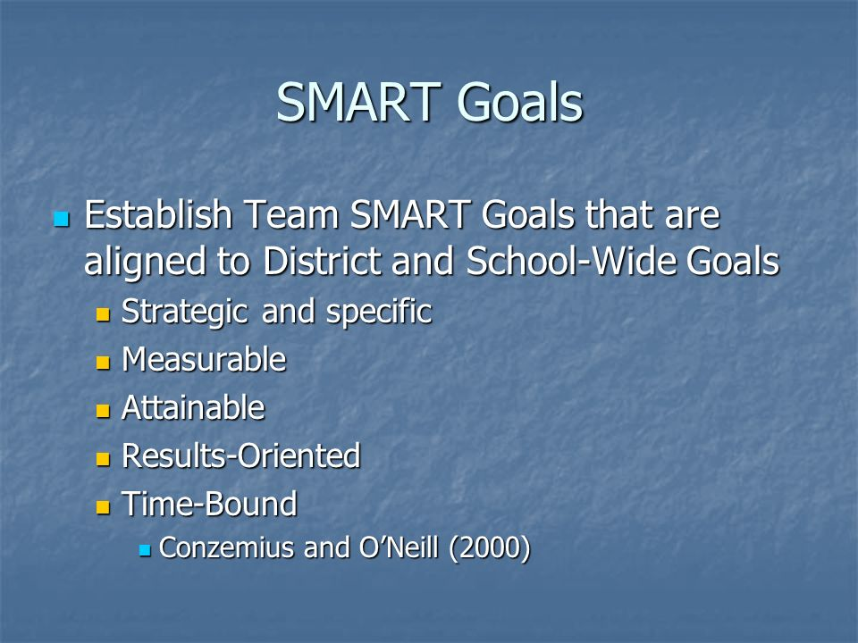 SMART Goals Establish Team SMART Goals that are aligned to District and School-Wide Goals Establish Team SMART Goals that are aligned to District and