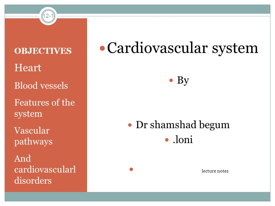 OBJECTIVES Heart Blood vessels Features of the system Vascular pathways And cardiovascularl disorders Cardiovascular system By Dr shamshad begum.loni