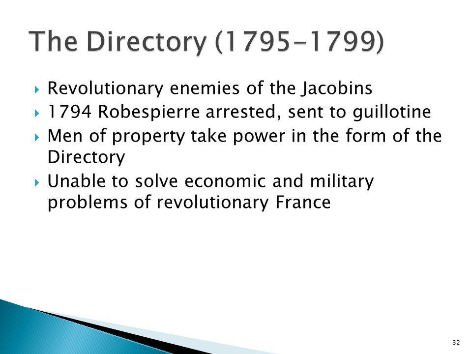 32 Revolutionary enemies of the Jacobins 1794 Robespierre arrested, sent to guillotine Men of property take power in the form of the Directory Unable