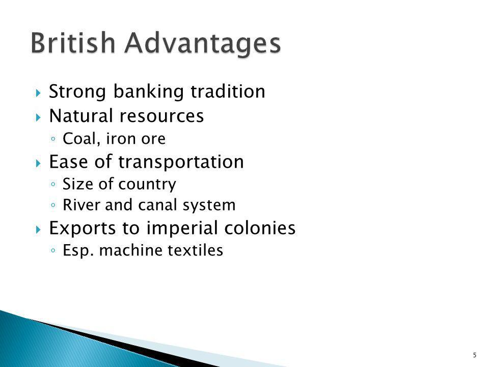 Strong banking tradition Natural resources Coal, iron ore Ease of transportation Size of country River and canal system Exports to imperial colonies E