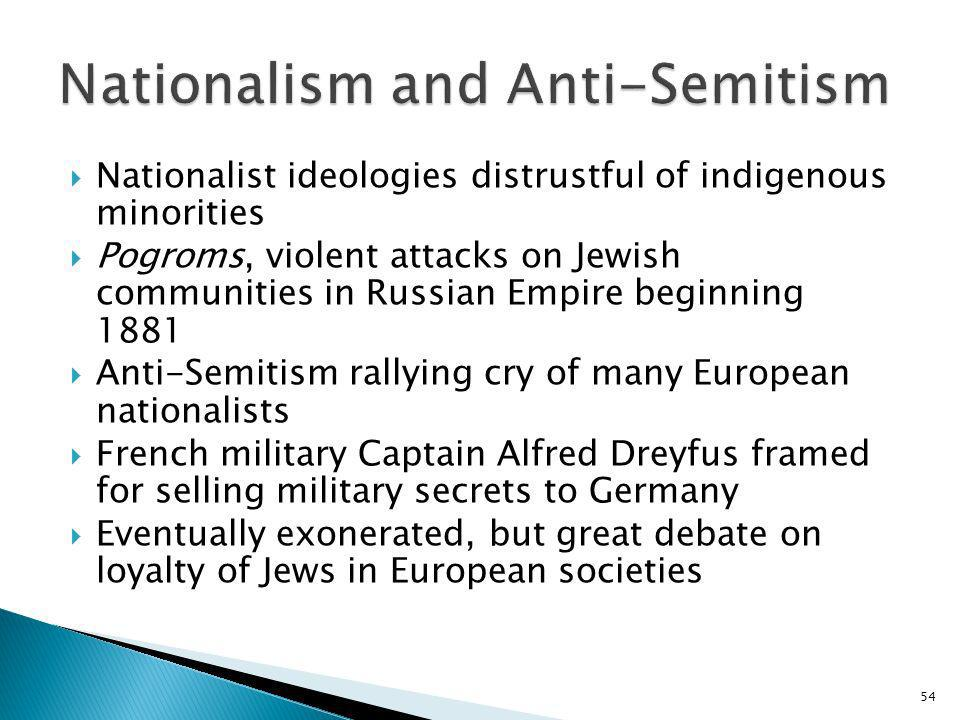 54 Nationalist ideologies distrustful of indigenous minorities Pogroms, violent attacks on Jewish communities in Russian Empire beginning 1881 Anti-Se