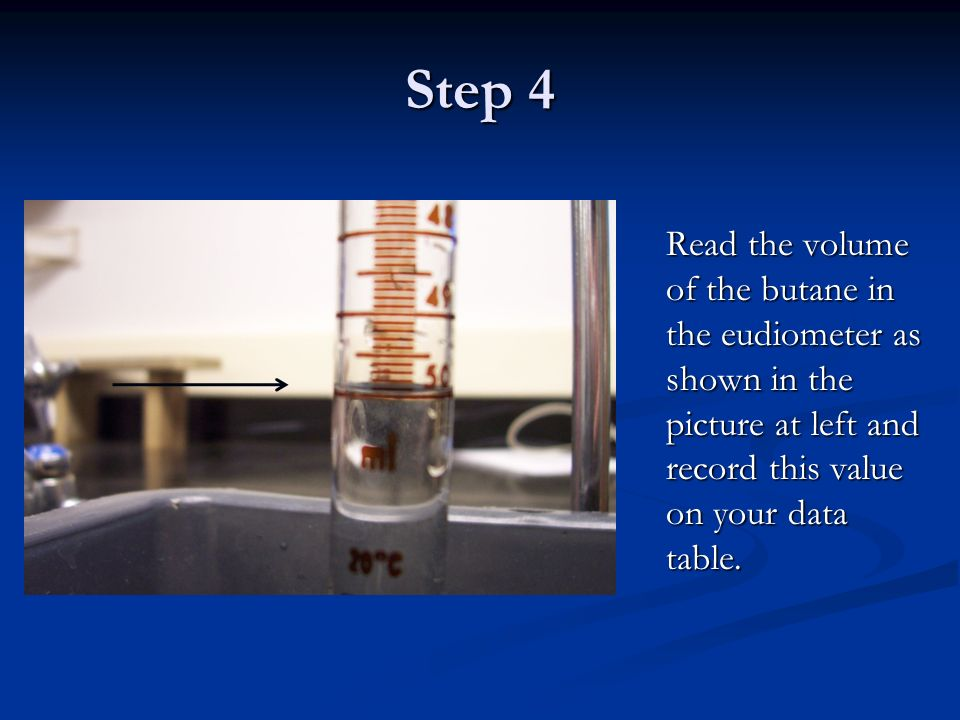 Step 4 Read the volume of the butane in the eudiometer as shown in the picture at left and record this value on your data table.