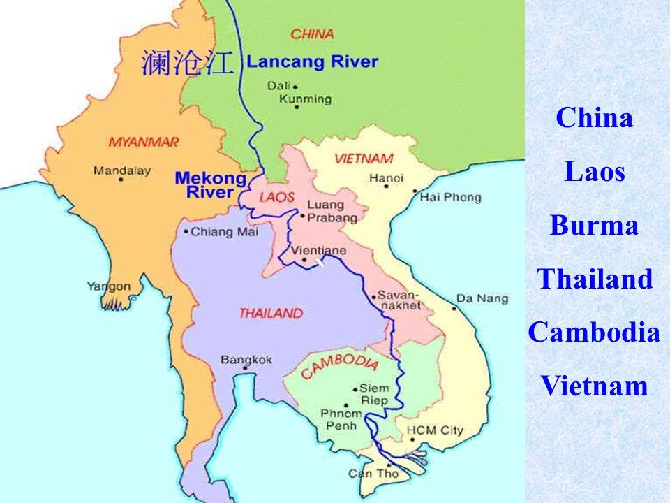 China Laos Burma Thailand Cambodia Vietnam