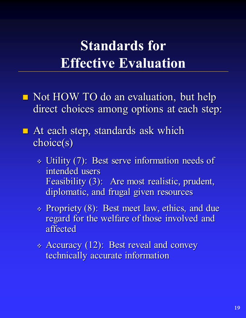 Framework for Program Evaluation 18