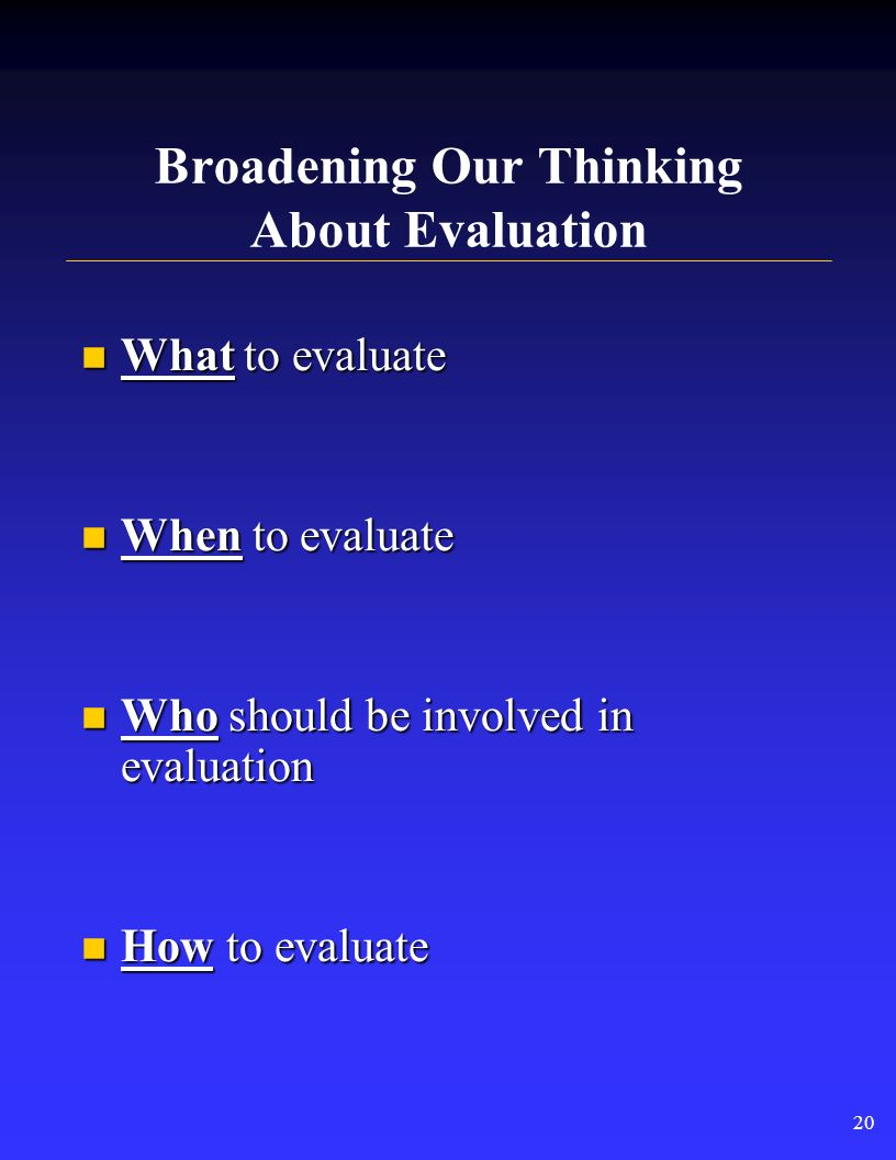 Standards for Effective Evaluation Not HOW TO do an evaluation, but help direct choices among options at each step: Not HOW TO do an evaluation, but h