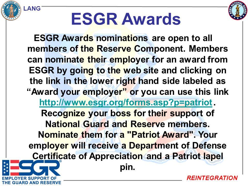 LANG REINTEGRATION ESGR (SOS) Statements of Support (SOS).