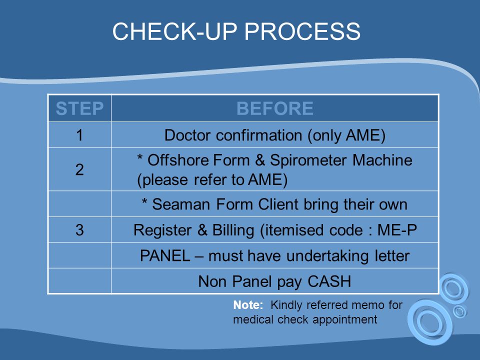 CHECK-UP PROCESS STEPBEFORE 1Doctor confirmation (only AME) 2 * Offshore Form & Spirometer Machine (please refer to AME) * Seaman Form Client bring their own 3Register & Billing (itemised code : ME-P PANEL – must have undertaking letter Non Panel pay CASH Note: Kindly referred memo for medical check appointment