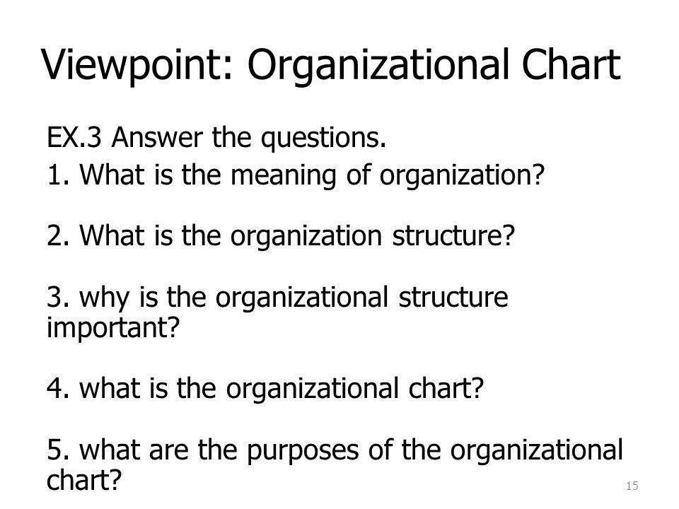 Viewpoint: Organizational Chart EX.3 Answer the questions.