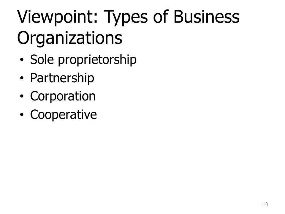 Viewpoint: Types of Business Organizations Sole proprietorship Partnership Corporation Cooperative 18