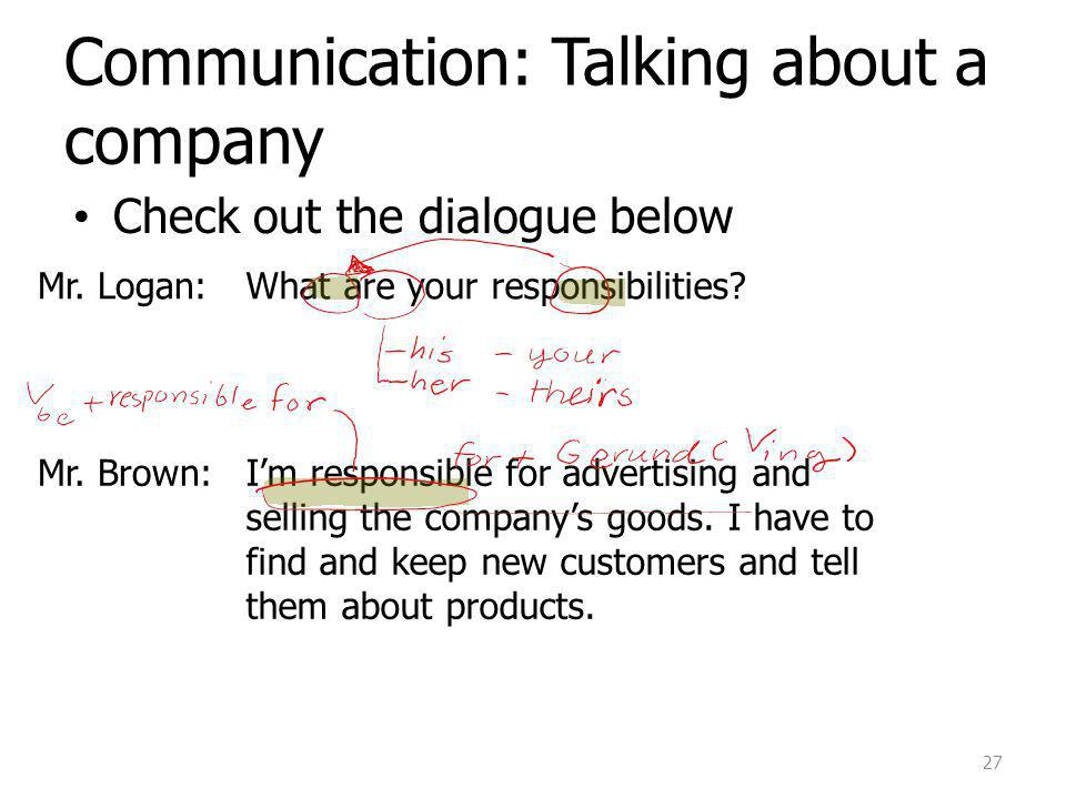 Communication: Talking about a company Check out the dialogue below 27 Mr.