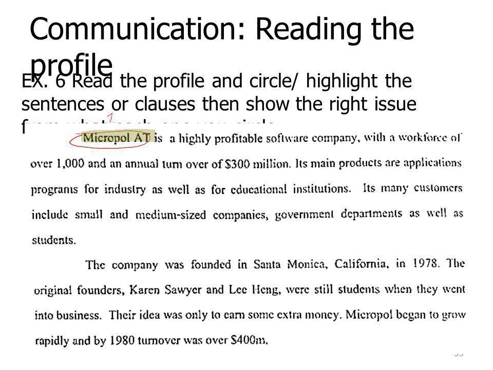 Communication: Reading the profile EX.
