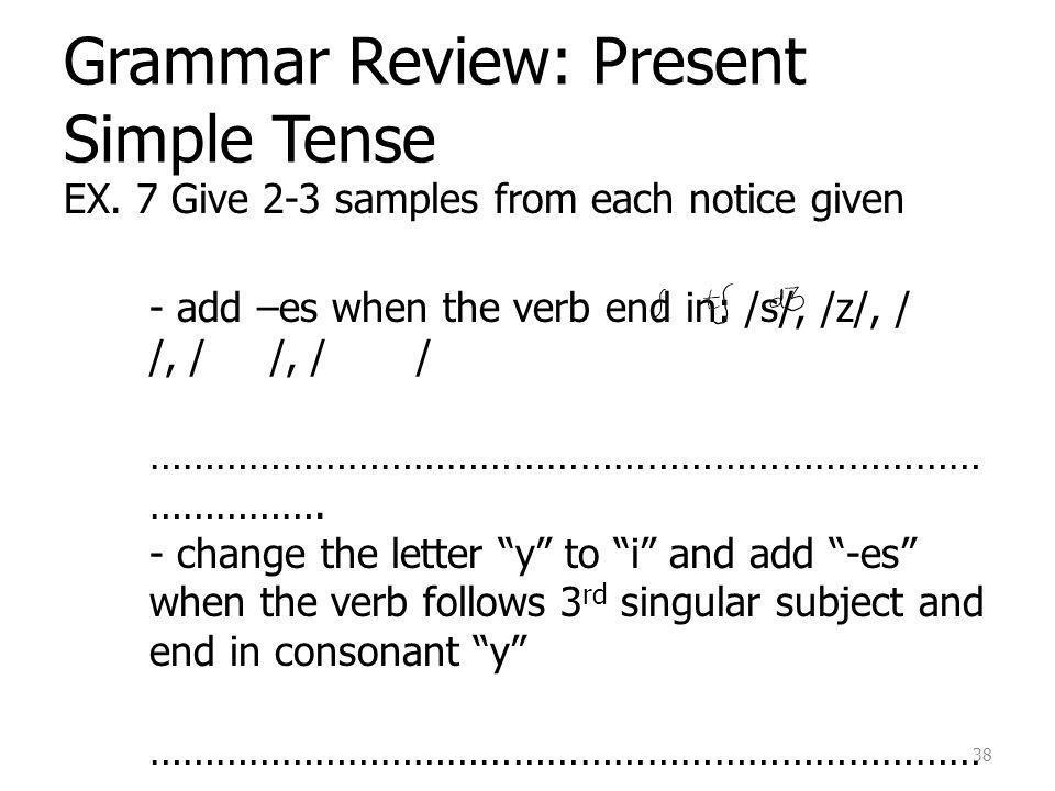 Grammar Review: Present Simple Tense EX.