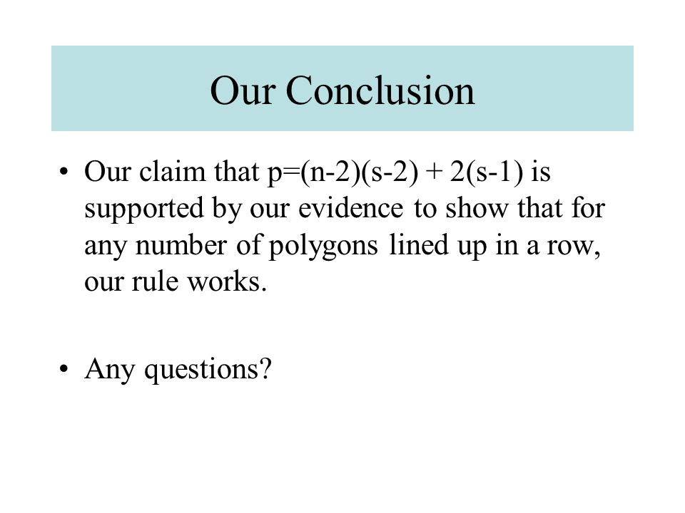 Our Conclusion Our claim that p=(n-2)(s-2) + 2(s-1) is supported by our evidence to show that for any number of polygons lined up in a row, our rule w