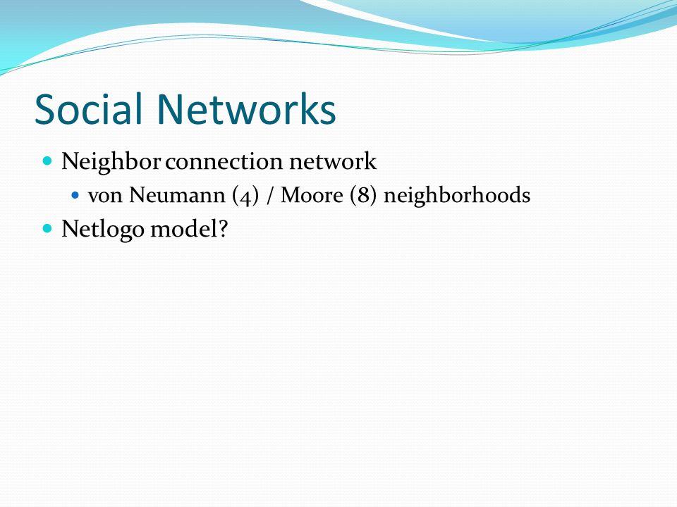 Social Networks Neighbor connection network von Neumann (4) / Moore (8) neighborhoods Netlogo model?