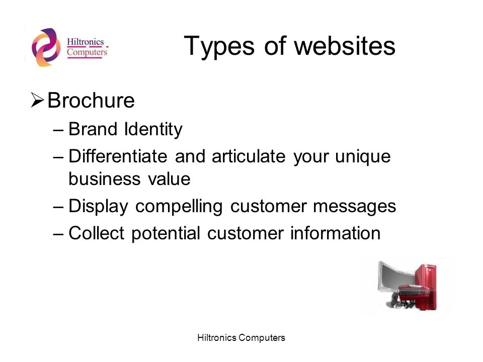 Hiltronics Computers Types of websites Brochure –Brand Identity –Differentiate and articulate your unique business value –Display compelling customer messages –Collect potential customer information