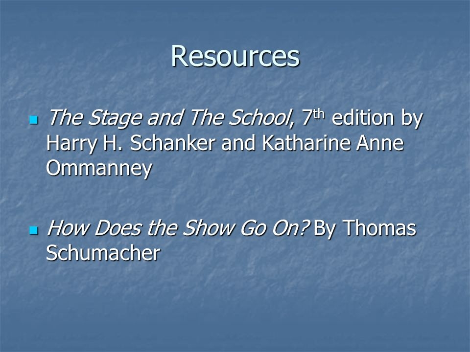 Resources The Stage and The School, 7 th edition by Harry H. Schanker and Katharine Anne Ommanney The Stage and The School, 7 th edition by Harry H. S