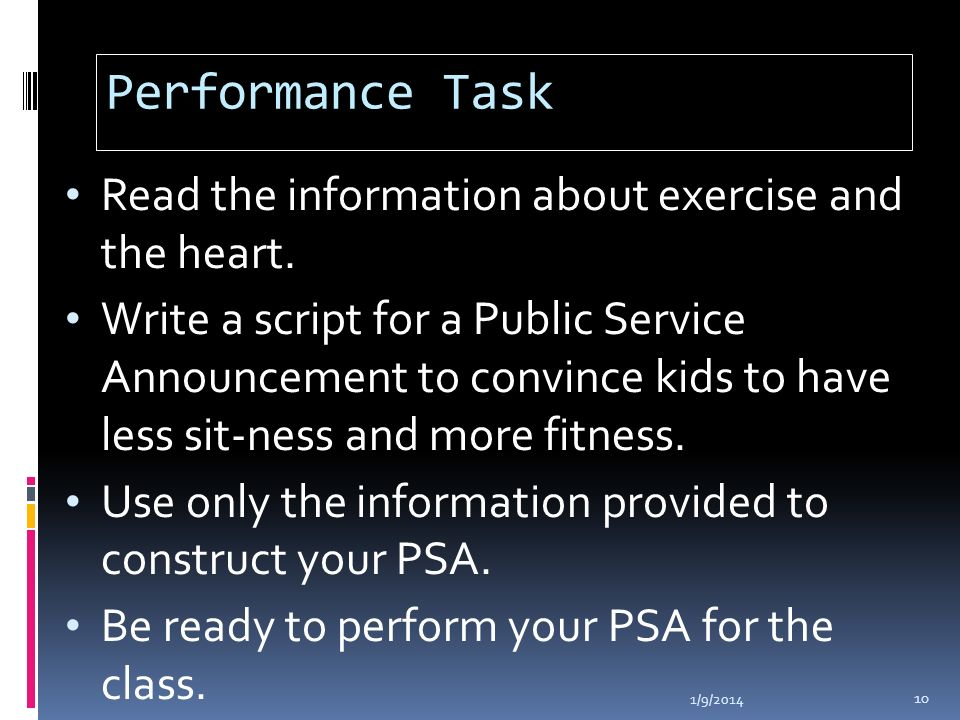 Performance Task Read the information about exercise and the heart.