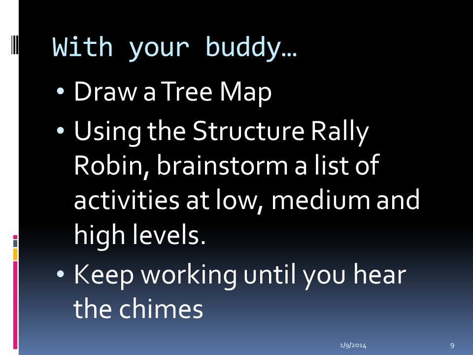 With your buddy… Draw a Tree Map Using the Structure Rally Robin, brainstorm a list of activities at low, medium and high levels.
