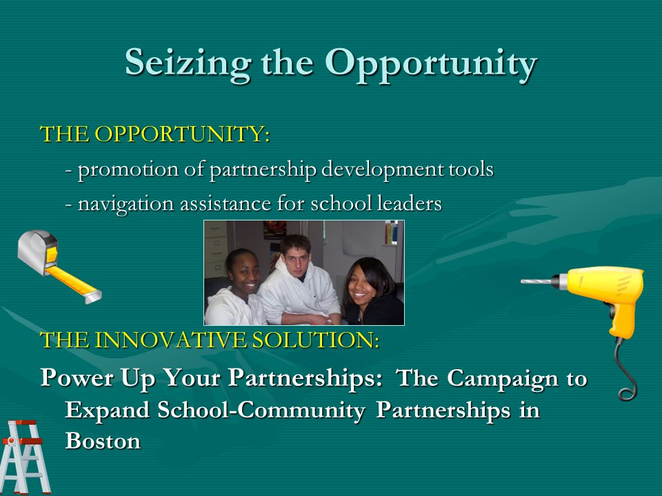 Seizing the Opportunity THE OPPORTUNITY: - promotion of partnership development tools - navigation assistance for school leaders THE INNOVATIVE SOLUTION: Power Up Your Partnerships: The Campaign to Expand School-Community Partnerships in Boston