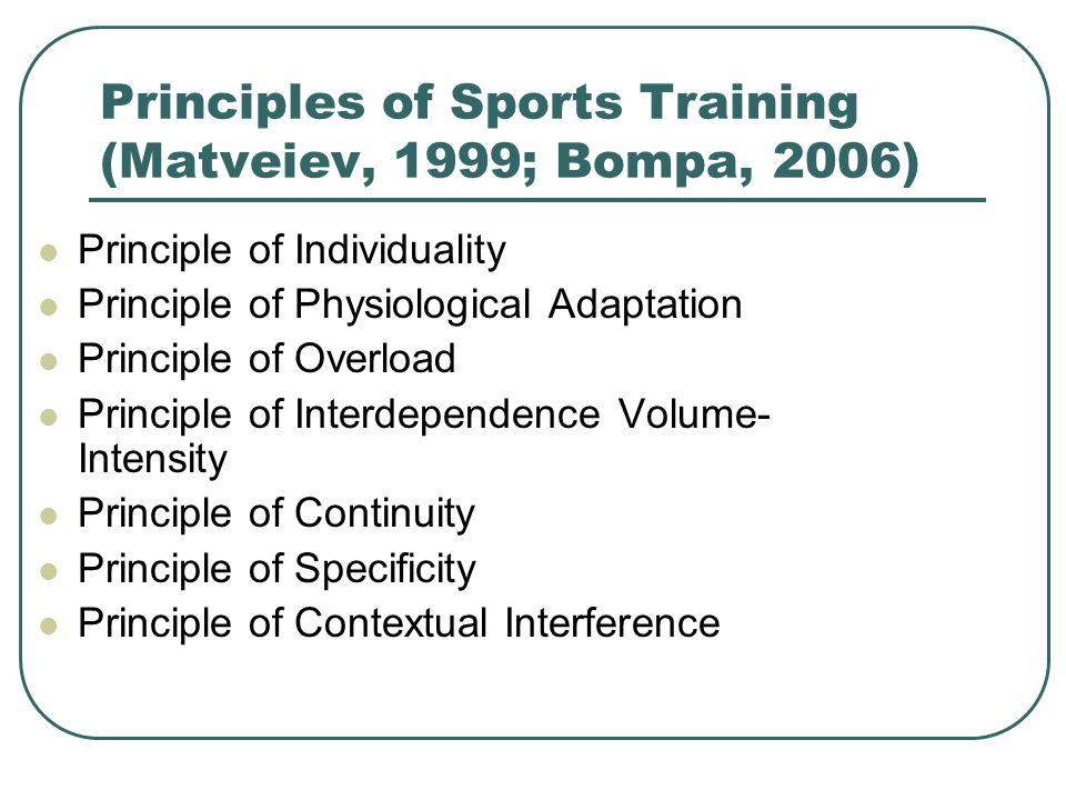 Principles of Sports Training (Matveiev, 1999; Bompa, 2006) Principle of Individuality Principle of Physiological Adaptation Principle of Overload Pri