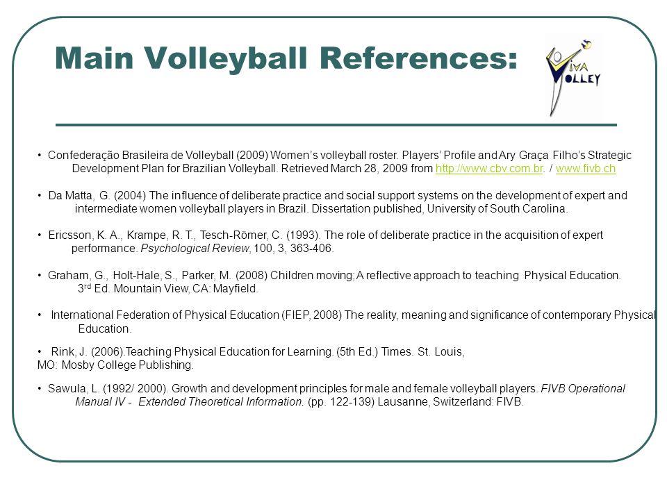 Main Volleyball References: Confederação Brasileira de Volleyball (2009) Womens volleyball roster. Players Profile and Ary Graça Filhos Strategic Deve