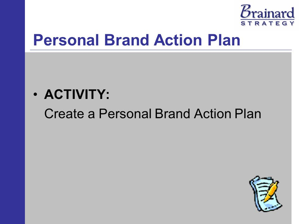 Personal Brand Action Plan ACTIVITY: Create a Personal Brand Action Plan