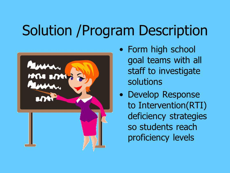Solution /Program Description Form high school goal teams with all staff to investigate solutions Develop Response to Intervention(RTI) deficiency str