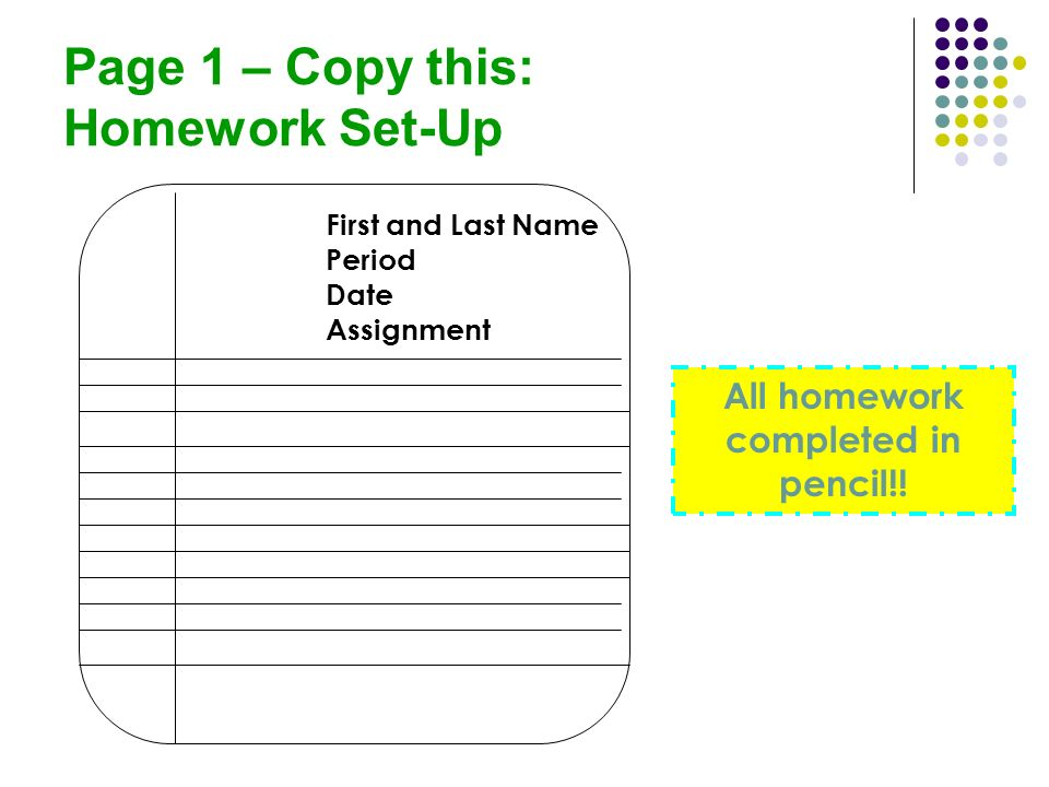 Page 1 – Copy this: Homework Set-Up All homework completed in pencil!! First and Last Name Period Date Assignment
