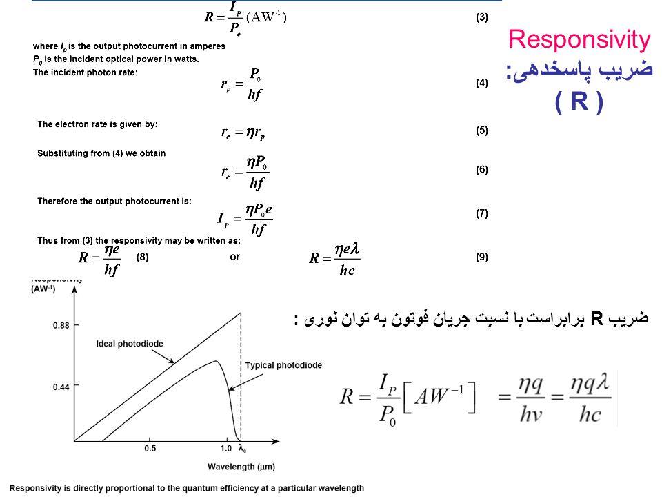 : برابراست با نسبت جریان فوتون به توان نوریR ضریب Responsivity ضریب پاسخدهی: ( R )