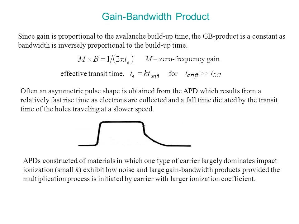 Gain-Bandwidth Product M = zero-frequency gain effective transit time, for Often an asymmetric pulse shape is obtained from the APD which results from