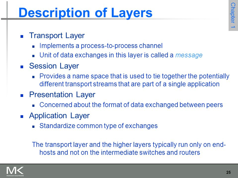 25 Chapter 1 Description of Layers Transport Layer Implements a process-to-process channel Unit of data exchanges in this layer is called a message Session Layer Provides a name space that is used to tie together the potentially different transport streams that are part of a single application Presentation Layer Concerned about the format of data exchanged between peers Application Layer Standardize common type of exchanges The transport layer and the higher layers typically run only on end- hosts and not on the intermediate switches and routers