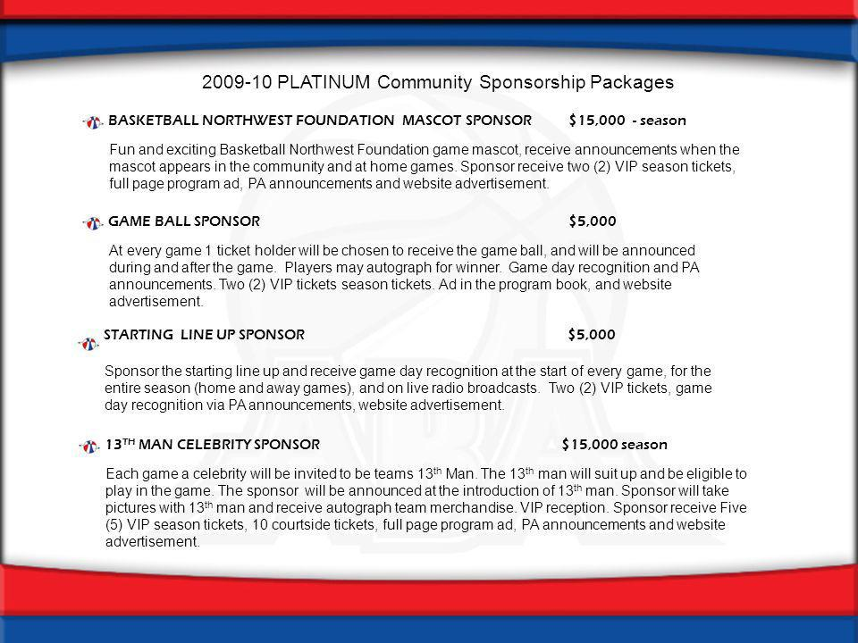 2009-10 PLATINUM Community Sponsorship Packages PLATINUM game sponsorships are effective and flexible means to promote your business in conjunction with Basketball Northwest Foundation.