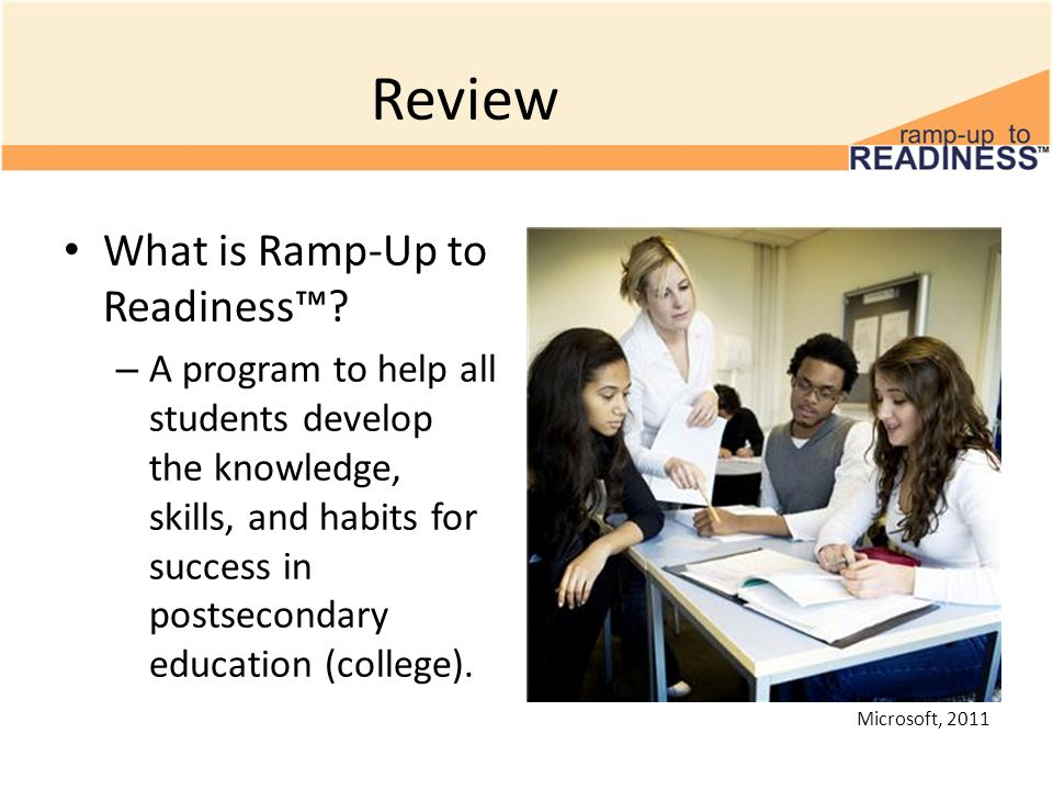Review What is Ramp-Up to Readiness? – A program to help all students develop the knowledge, skills, and habits for success in postsecondary education