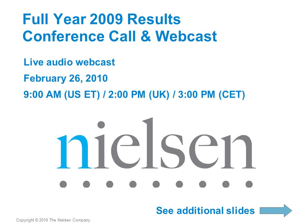 Full Year 2009 Results Conference Call & Webcast Live audio webcast February 26, 2010 9:00 AM (US ET) / 2:00 PM (UK) / 3:00 PM (CET) Copyright © 2010