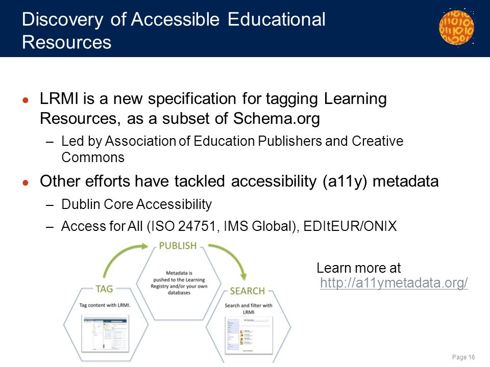 Page 16 Discovery of Accessible Educational Resources LRMI is a new specification for tagging Learning Resources, as a subset of Schema.org –Led by Association of Education Publishers and Creative Commons Other efforts have tackled accessibility (a11y) metadata –Dublin Core Accessibility –Access for All (ISO 24751, IMS Global), EDItEUR/ONIX Learn more at http://a11ymetadata.org/http://a11ymetadata.org/