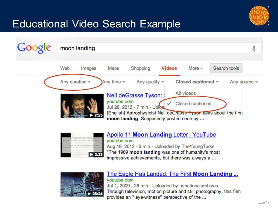 Page 17 Educational Video Search Example