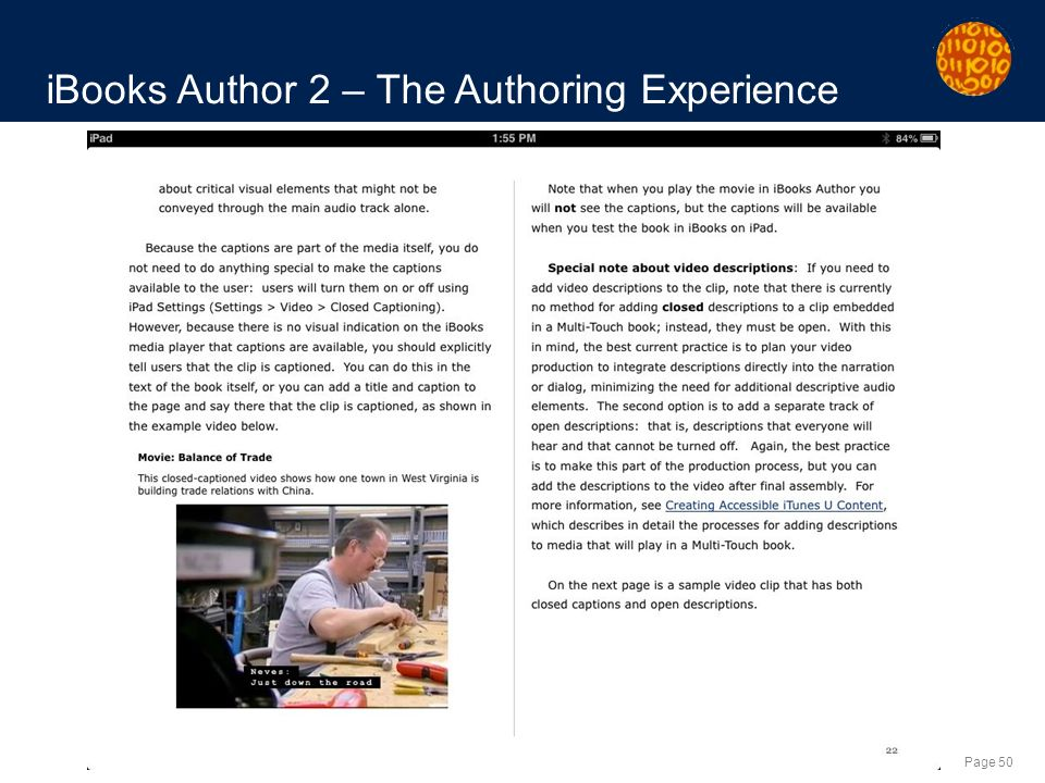 Page 50 iBooks Author 2 – The Authoring Experience