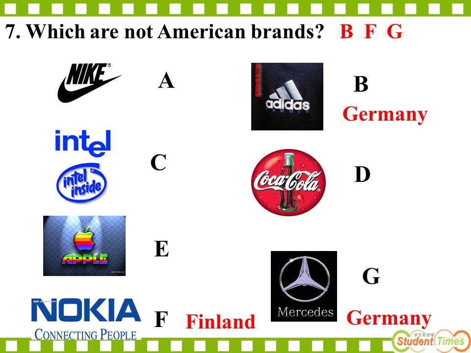 A.B.C.D. 6. Which doesnt belong to the USA? Statue of Liberty Golden Bridge White House Eiffel Tower C