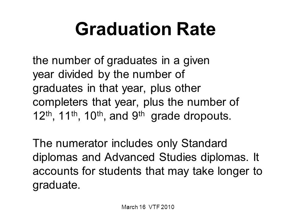 March 16 VTF 2010 The percentage of students who graduate from secondary school with a regular diploma in the standard number of years.