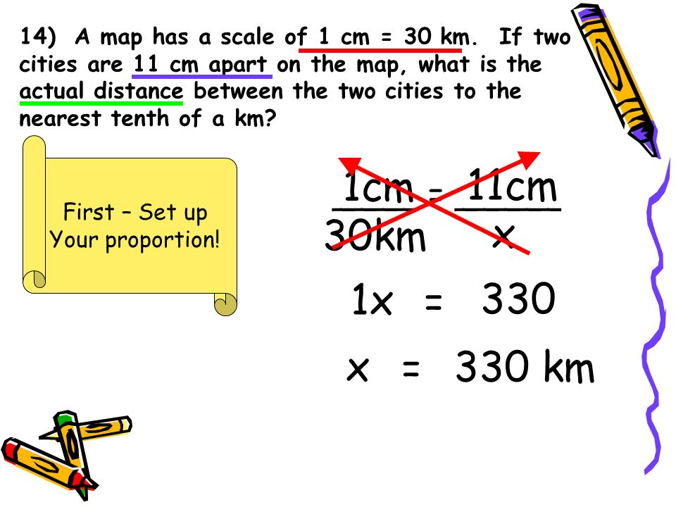 14) A map has a scale of 1 cm = 30 km.