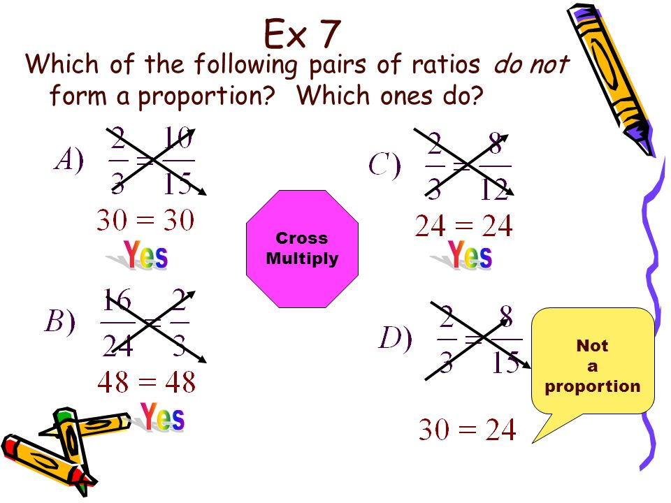 Ex 7 Which of the following pairs of ratios do not form a proportion.