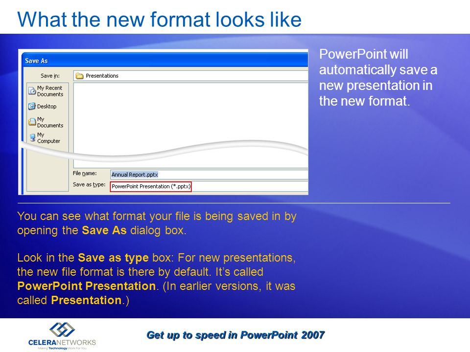 Get up to speed in PowerPoint 2007 What the new format looks like PowerPoint will automatically save a new presentation in the new format. You can see