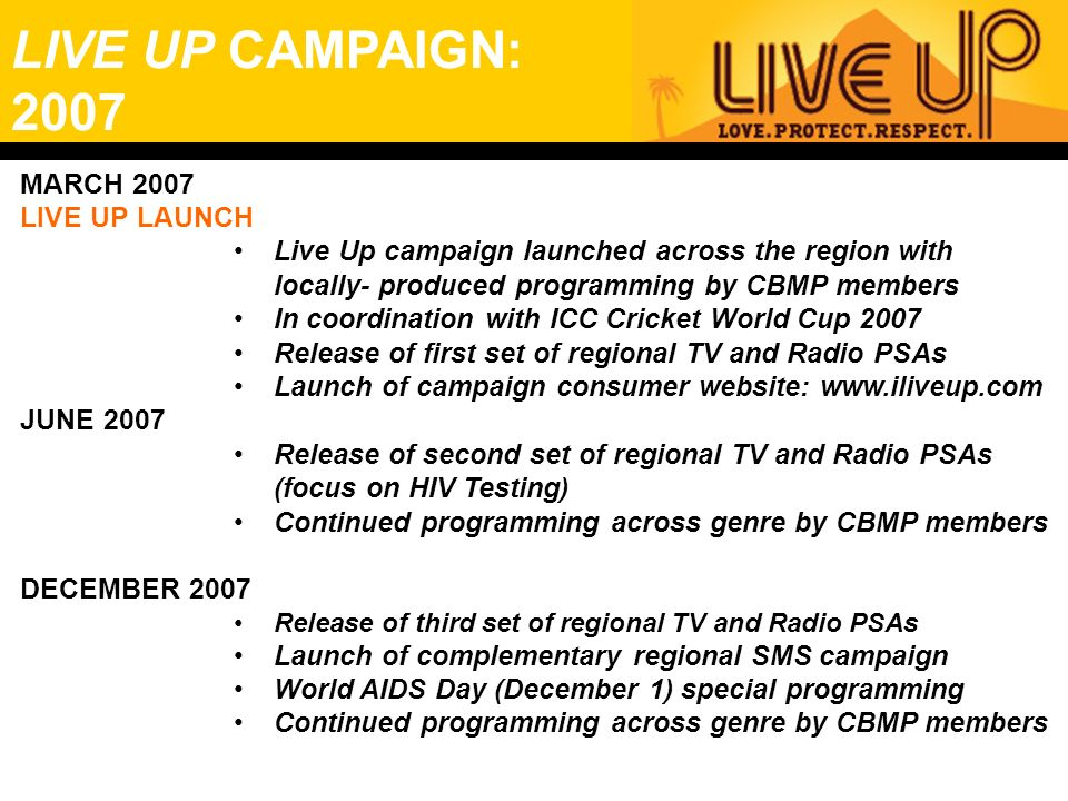 LIVE UP CAMPAIGN: 2007 MARCH 2007 LIVE UP LAUNCH Live Up campaign launched across the region with locally- produced programming by CBMP members In coo