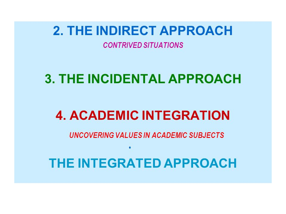 2. THE INDIRECT APPROACH CONTRIVED SITUATIONS 3. THE INCIDENTAL APPROACH 4. ACADEMIC INTEGRATION UNCOVERING VALUES IN ACADEMIC SUBJECTS THE INTEGRATED