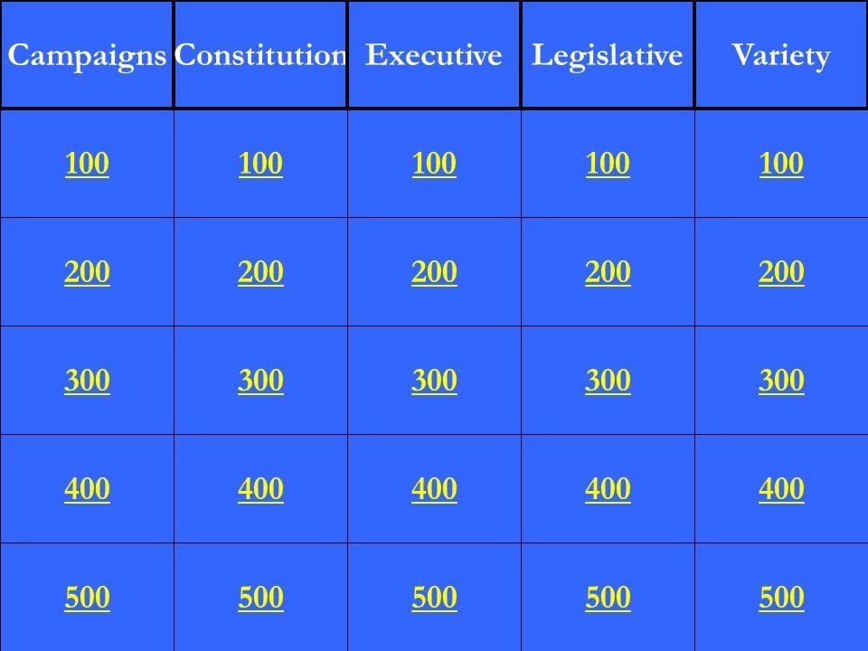 200 300 400 500 100 200 300 400 500 100 200 300 400 500 100 200 300 400 500 100 200 300 400 500 100 CampaignsConstitutionExecutiveLegislativeVariety